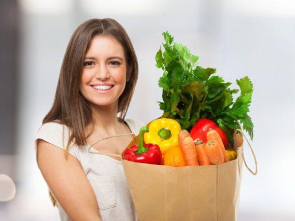 Женщина овощи